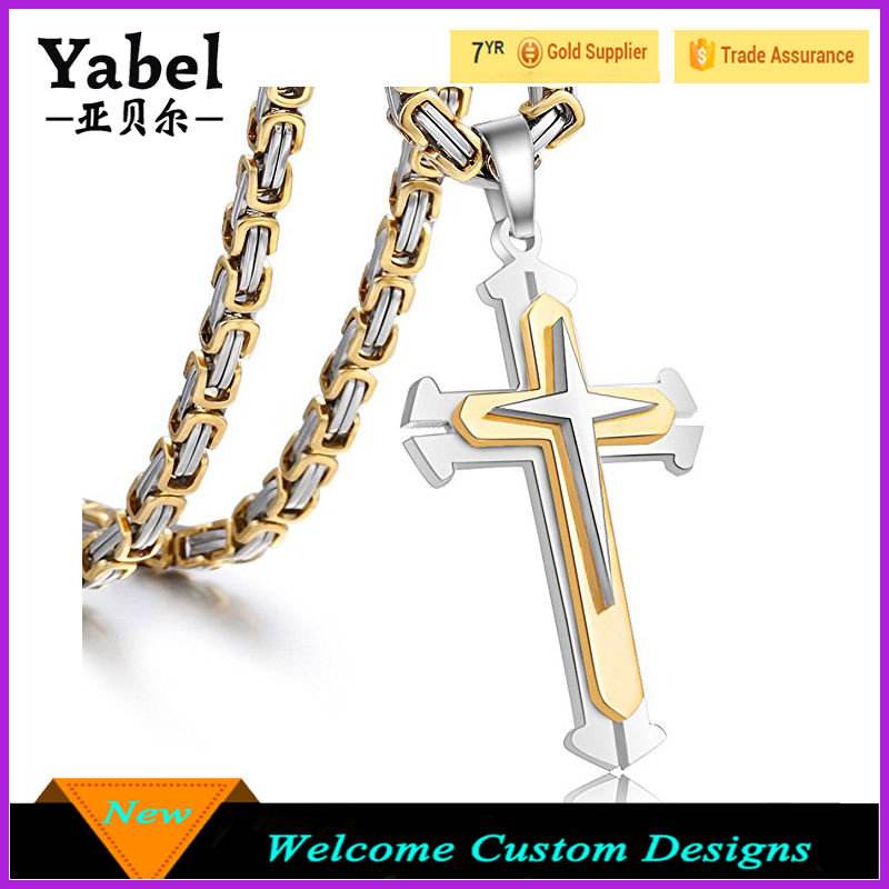 Charm Jewelry Stainless Steel Cross Pendant Necklace Mens Boys Chain Byzantine Chain