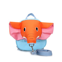 Lovely Blue Animal Cartoon Safety Leash Bag OEM Custom Design Elephant Shape Kids School Backpacks Baby Anti Lost Bag