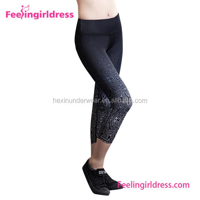 China Manufacturer Fold Over Waist Three Quarter Womens Yoga Leggings