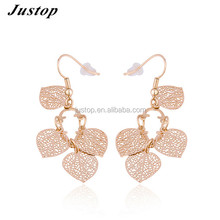 Dubai new simple gold ear tops jewelry leaves shaped earring designs for women