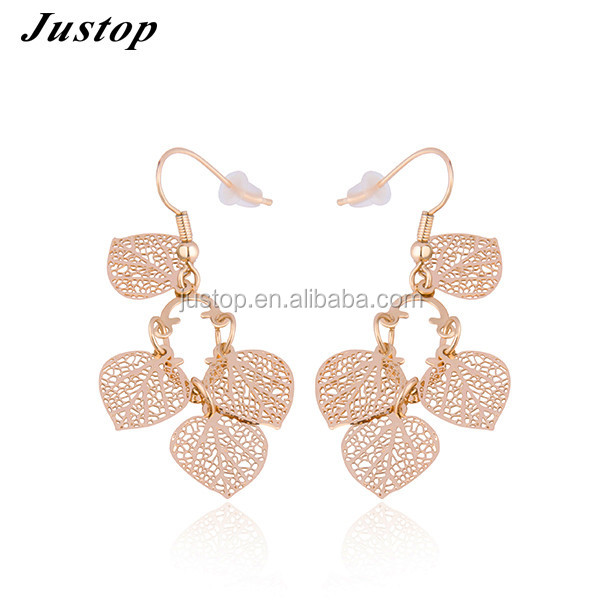 New 2016 latest simple gold ear tops earring designs leaves shaped jewelry for women