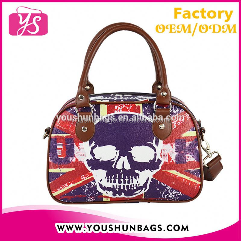 2015 Fashion PU Handbag Skull Printing with Detachable Shoulder Strap