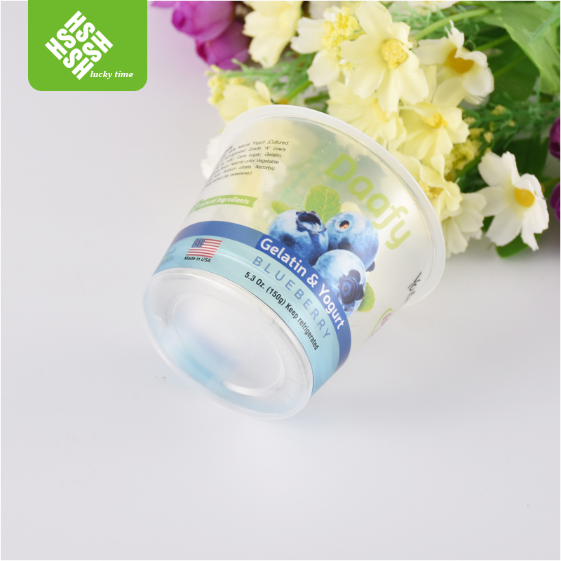 small transparent disposable PP PET smoothie plastic cup with lid