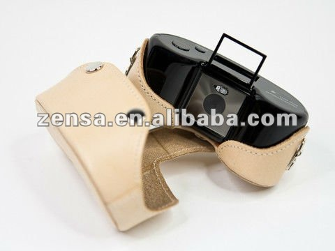 Leather Camera Case Bag w/ Strap for Superheadz DIGITAL HARINEZUMI 2++ 2+++