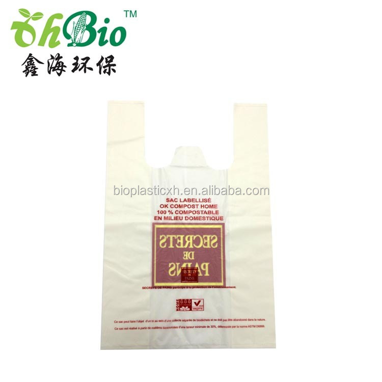 wholesale accept custom printed biodegradable plastic t-shirt bag