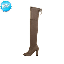 Cheap wholesale large size soft leather autumn winter knee high boots women