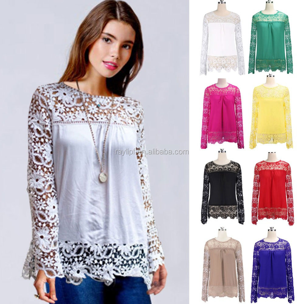New Sexy Ladies Embroidered Lace Shirt Long Sleeve Women Tops Blouse