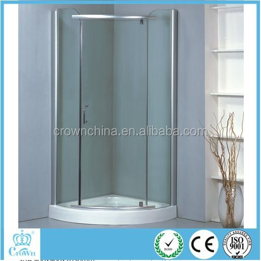 Sliding door 3 sided free standing glass shower enclosure