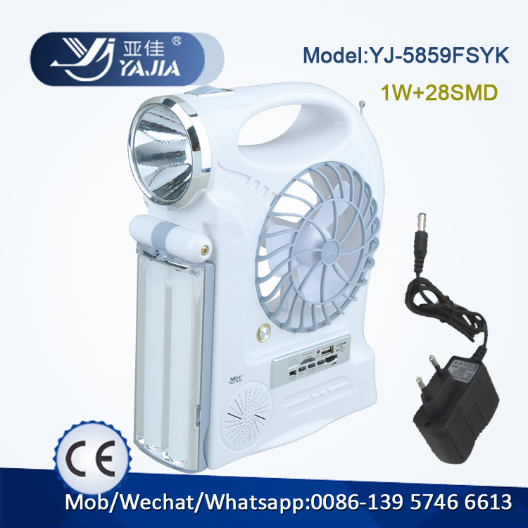 Rechargeable emergency table fan, rechargeable travel fan with led lights and radio