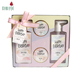 Custom gift beauty 4pcs rose fragrance body lotion shower salt bath and body care