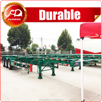 High quality truck spare parts 20ft 40ft skeleton semi trailer with best trailer tire
