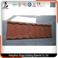 Red Stone Coated Metal Roof Tile/Building Material Popular in Africa/America