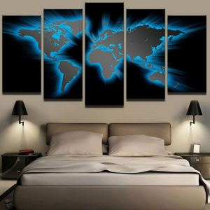 Unframed 5 Panels World Map Picture Print Painting Modern Canvas Wall Art for Wall Decor Home Decoration Artwork
