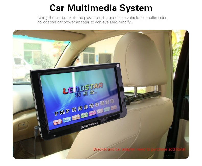 Hot sale portable digital tv products 1080P HD 1024*600 car headrest player led tv europe