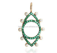 Gold Plated 925 Sterling Silver Cubic Zirconia Bezel Set Diamond Pave Green CZ Evil Eye Charm Pendant