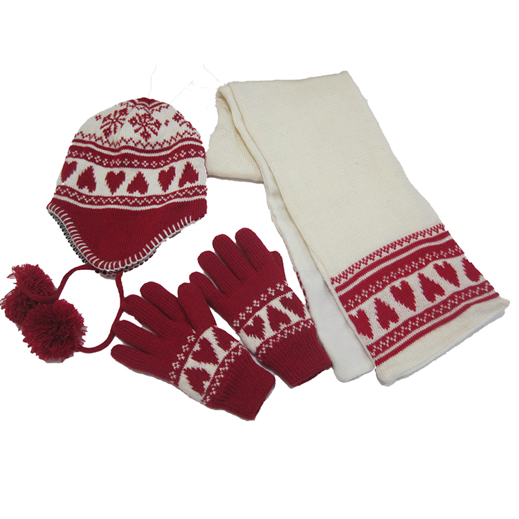 popular and lovely children scarf hat glove knit winter sets