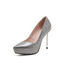 YX10A608 2017 Hot sale ladies bright pu upper platform pencil high heel shoes