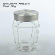 polygon shaped with metal lid modern order easily Glass Storage Jar