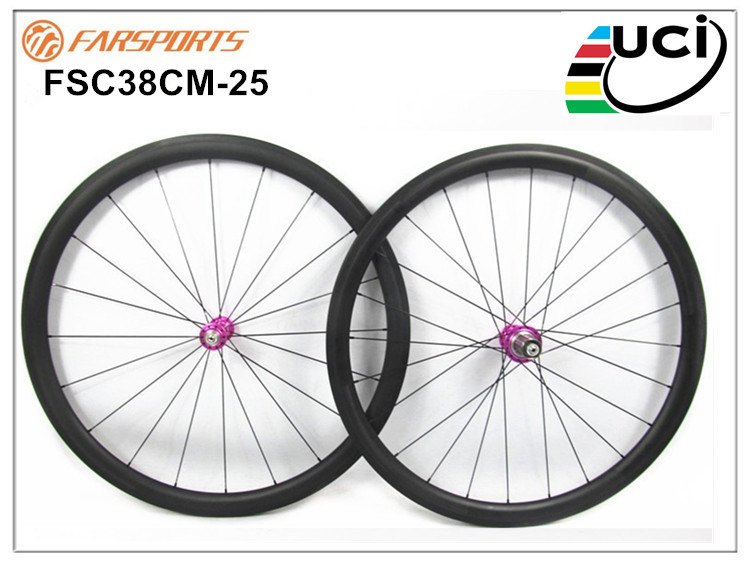 Pink carbon wheelsets 38mm 25mm bicycle carbon fiber rims with White Industry hub T11 Dropshipping wheels