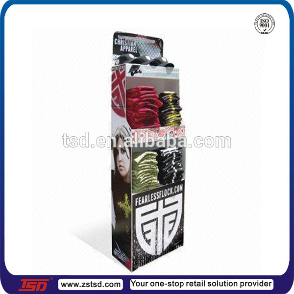 TSD-C591 garment store cardboard t shirt display stand/POP t-shirt cardboard display/retail t-shirt cardboard floor display