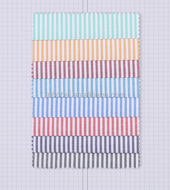 Bobai textile breathable cotton colorful stripe fabric men's shirts,ladies' shirting,kids' clothing fabric wholesale