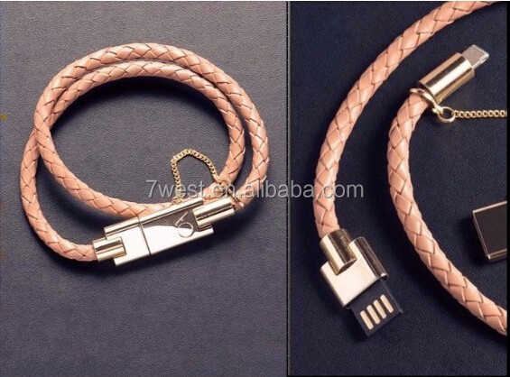 New Arrival BOLT Wearable Leather Wristband Bracelet Chain Micro USB Data Charger Cable for Android Mobilephones