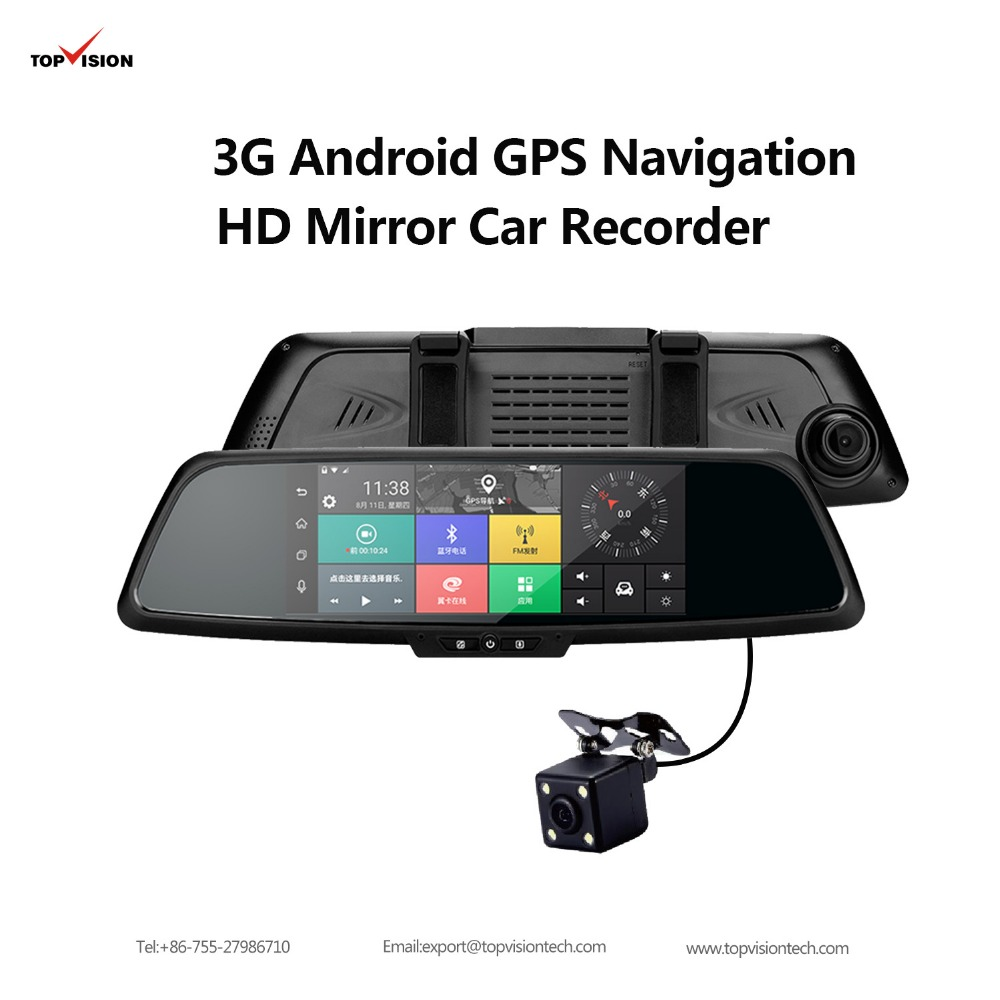 "7 ""3g Dual Lens Touch Screen android gps car car rearview mirror camera 1.3GHZ 1080P GPS Navigation 1GB RAM <strong>16GB</strong> ROM Car Dvr"