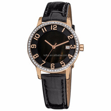 Custom Ladies Black Make Leather Watches Quartz Select Watch