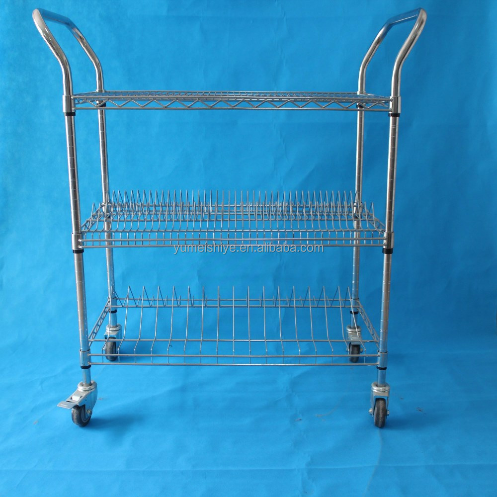 Storage wire mesh trolley with four wheels