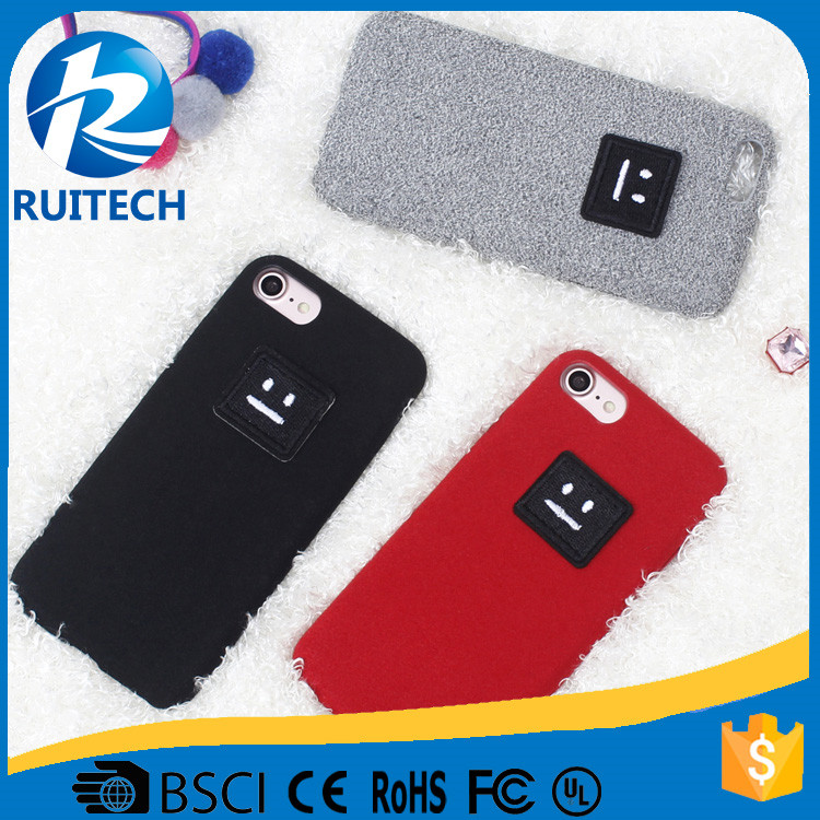 Cute Fur Plush with smile print Back Cover Case For iPhone 6 6 Plus