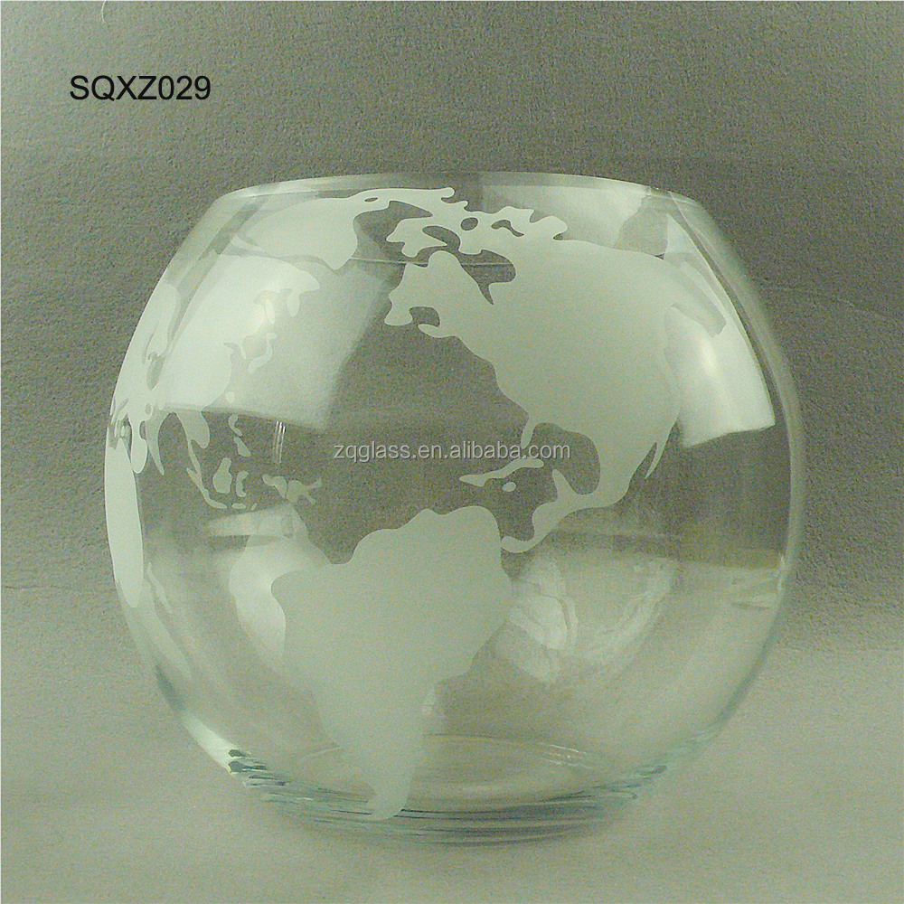 Big Giant Large Crystal Clear Round Ball Globe Glass Fish Globe Jar Tank Vase Pot Fishbowl with Frost World Map