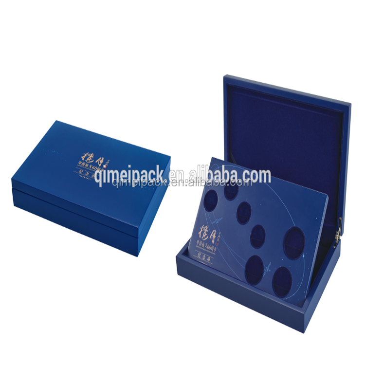 new design luxury hinged gift packaging wooden commemorative coin metal or window jewelry box