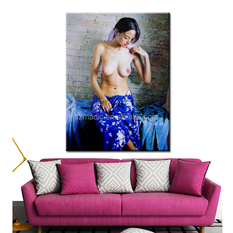 Hot Dafen Painting Hotel Decoration Sex Nude China Girl Photo Ready to Hang Painting Canvas Prints