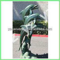 large brass water fountain of three dolphins for garden decoration