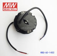 Meanwell 60W 1400MA led round driver with IP65 PFC function UL CB CE TUV CUL HBG-60-1400