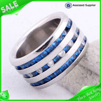 Hot selling eternity of stunning blue gems stainless steel gems ring model