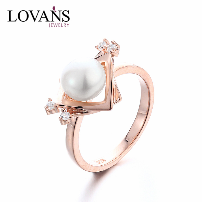 925 Sterling Silver Custom Engraved Latest Pearl Diamond Ring For Girls Designs SRK021R