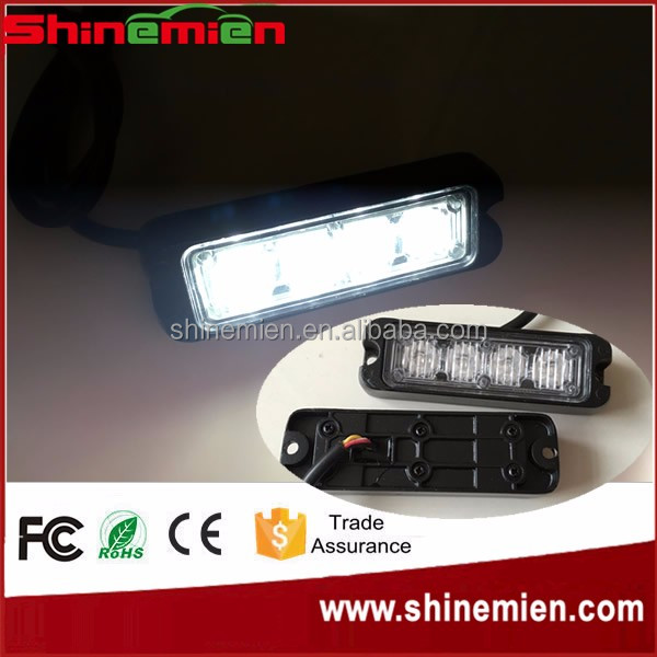 Slim mini 4 LED White Vehicle Deck Dash Grille Emergency Beacon Strobe Flash Warning Light