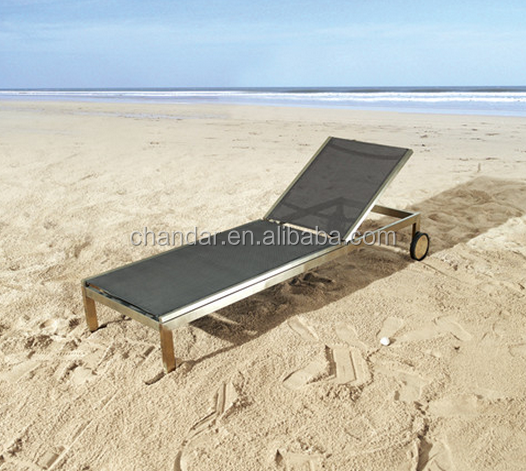 CH-H19 Aluminium Sun Lounger Plastic Sun Lounger Beach Lounger with Wheel