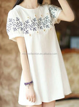 monroo 2014 summer new fashion cute embroidered flower women's easy dress