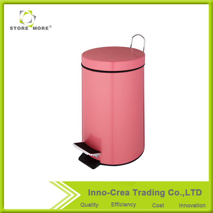 Large Pink Stainless Steel PP Foot Pedal Garbage Bin
