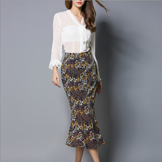 C51111A Trendy fashion plus size women printed african skirt