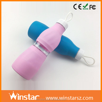 Foldable Collapsible Plastic Sports Silicone Squeeze Bottle For Ourdoor Travel