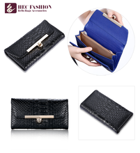 HEC Wholesale PVC Leather Elegant Black Clutch Ladies Coin Purse And Wallet