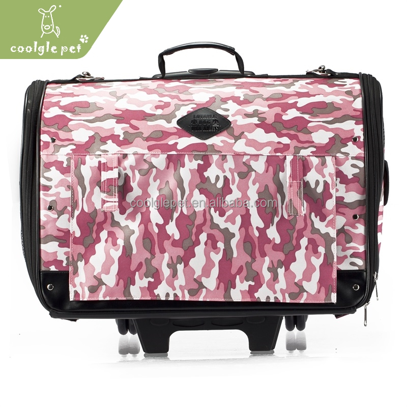 Wholesale Camouflage Waterproof Pet Draw-bar Box Hot Dog Carrier On Wheels
