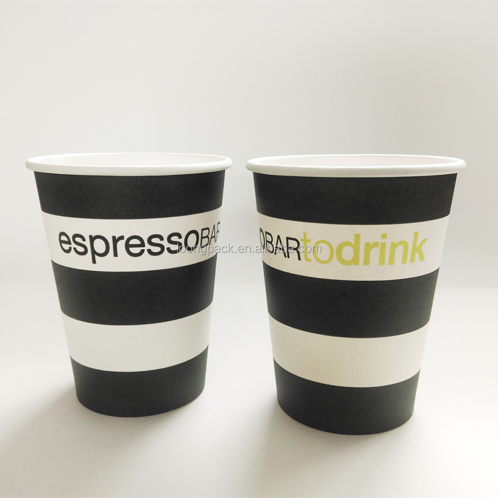 printed paper coffee cup 9oz blue striped paper cups LOONGPACK