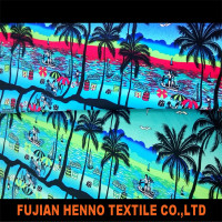 Hawaii print knitting lycra fabric nylon spandex fabric swimwear fabric