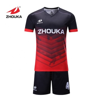 Youth Red Football Kit Uniforms Cheap Soccer Jersey Set For Team Sublimation Soccer Wear Printing Maillot Football Jersey
