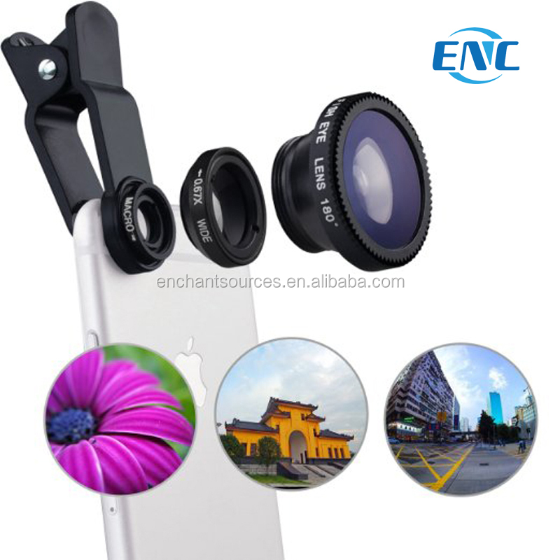 3-in-1 Universal phone clip 3in1 clip photo lens fisheye + macro 0.67x telephoto lens