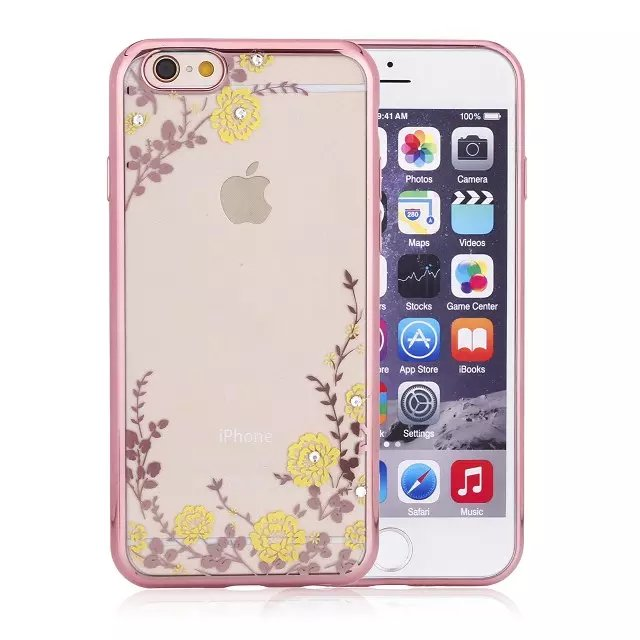 2016 Christmas gift flowers garden electroplating bumper transparent TPU Mobile phone case For iphone6 7